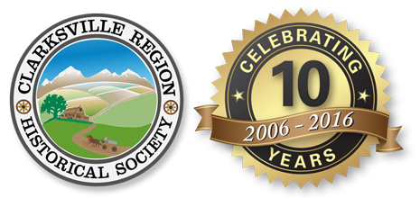 Clarksville Region Historical Society logo and Anniversary Banner